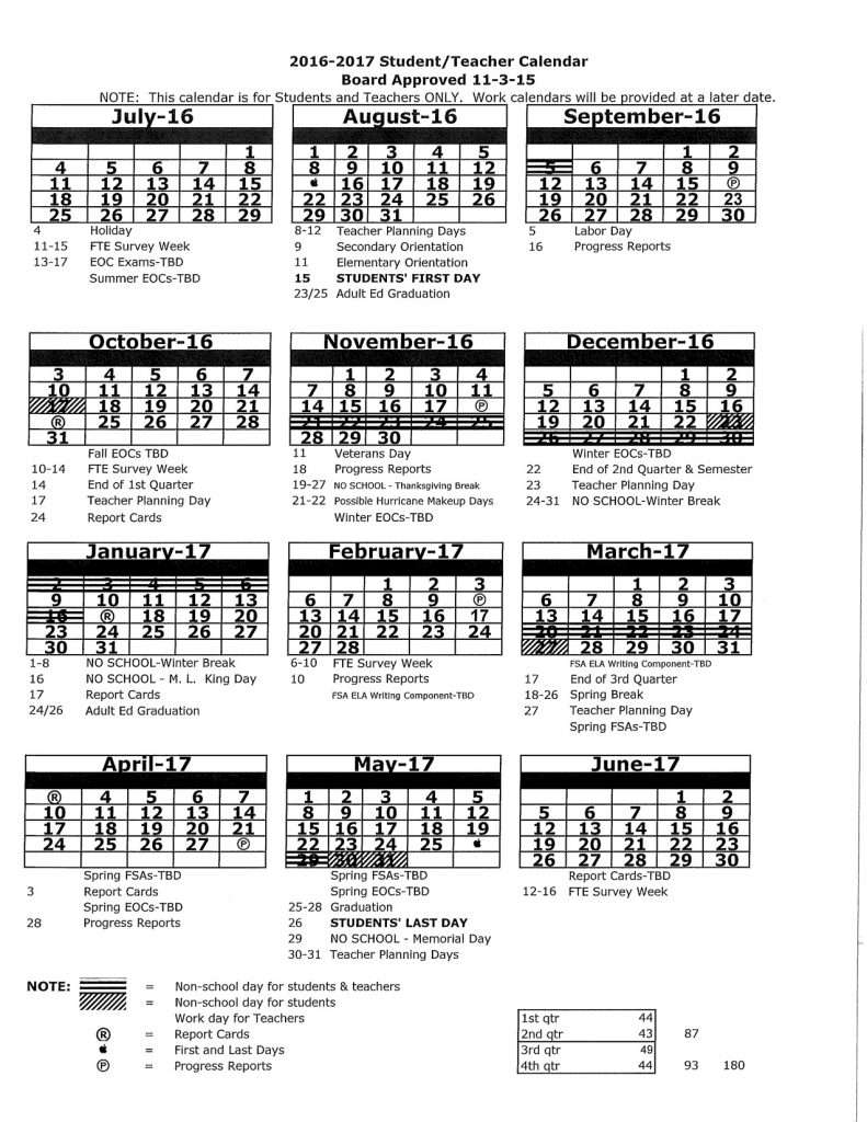 2016-2017 Student:Teacher Calendar